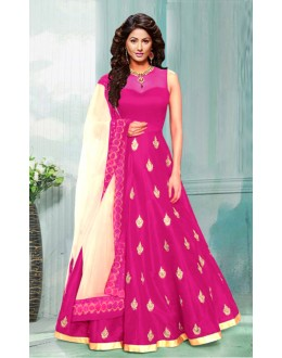 Festival Wear Pink & Cream Bhagalpuri Anarkali Suit  - 70753B