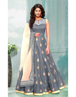 Ethnic Wear Grey & Cream Bhagalpuri Anarkali Suit  - 70753C