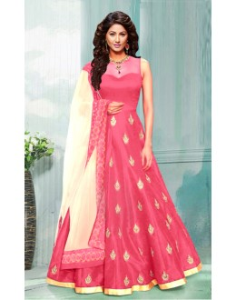 Ethnic Wear Peach Bhagalpuri Anarkali Suit  - 70753F