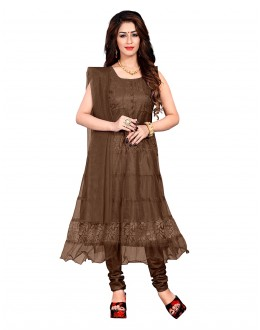 Net Brown Colour Anarkali Suit - EBSFSK09101FF