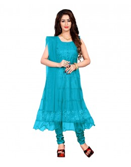 Party Wear Blue Net Anarkali Suit - EBSFSK09101MM
