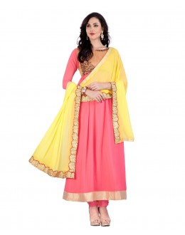 Ethnic Wear Peach Georgette Anarkali Suit - 70430