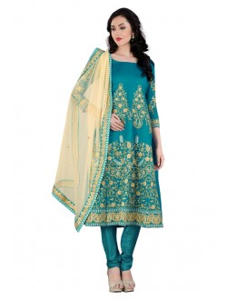 Ethnic Wear Rama Green Bhagalpuri Anarkali Suit - 70441