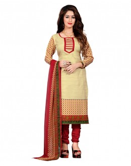 Festival Wear Beige & Red Silk Salwar Suit- 70760