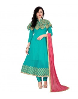 Party Wear Green Georgette Cape Anarkali Suit - 71275C