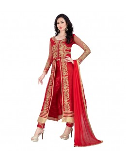 Party Wear Red Net Slit Salwar Suit - EBSFSK14201E