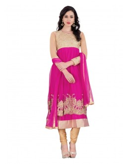 Ethnic Wear Pink Net Anarkali Suit - EBSFSK14217B