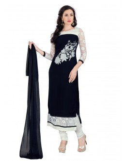 Festival Wear Black Georgette Straight Cut Salwar Suit - EBSFSK15507C