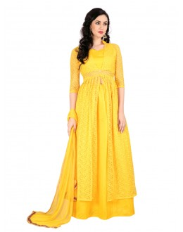Ethnic Wear Yellow Bhagalpuri Indo Western Suit - EBSFSK28927