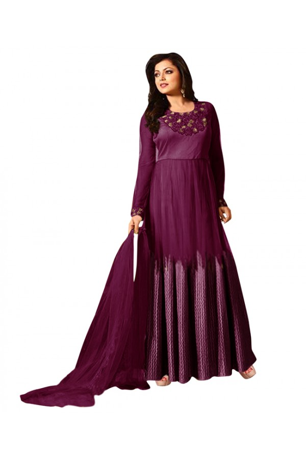 Eid Special Purple Net Anarkali Suit -  70606