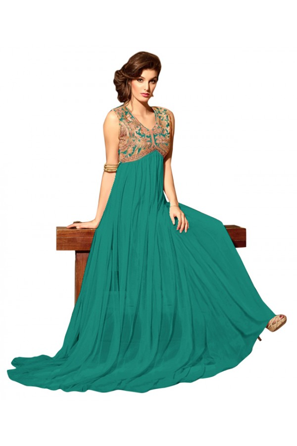 Eid Special Green Net Anarkali Suit -  70610
