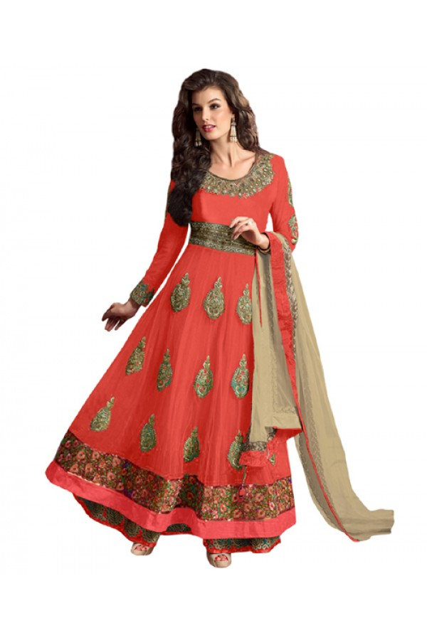 Eid Special Peach Net Anarkali Suit -  70617