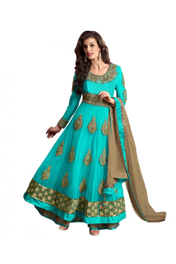 Eid Special Blue Net Anarkali Suit -  70619
