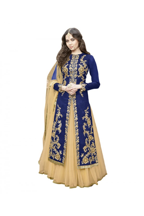 Wedding Wear Blue Bhagalpuri Lehenga Suit -  70628