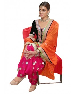 Bollywood Replica - Traditional Black & Pink Patiyala Suit - 70689