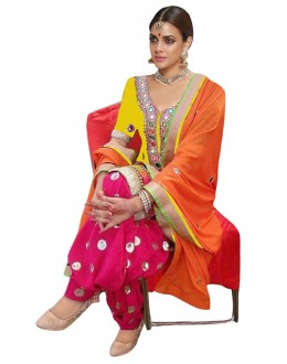 Bollywood Replica - Designer Yellow & Pink Patiyala Suit - 70692