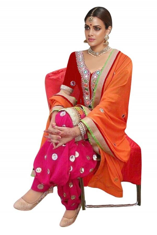 Bollywood Replica - Traditional Red & Pink Patiyala Suit - 70693