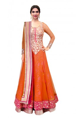 Bollywood Replica - Traditional Orange Anarkali Suit - 70747