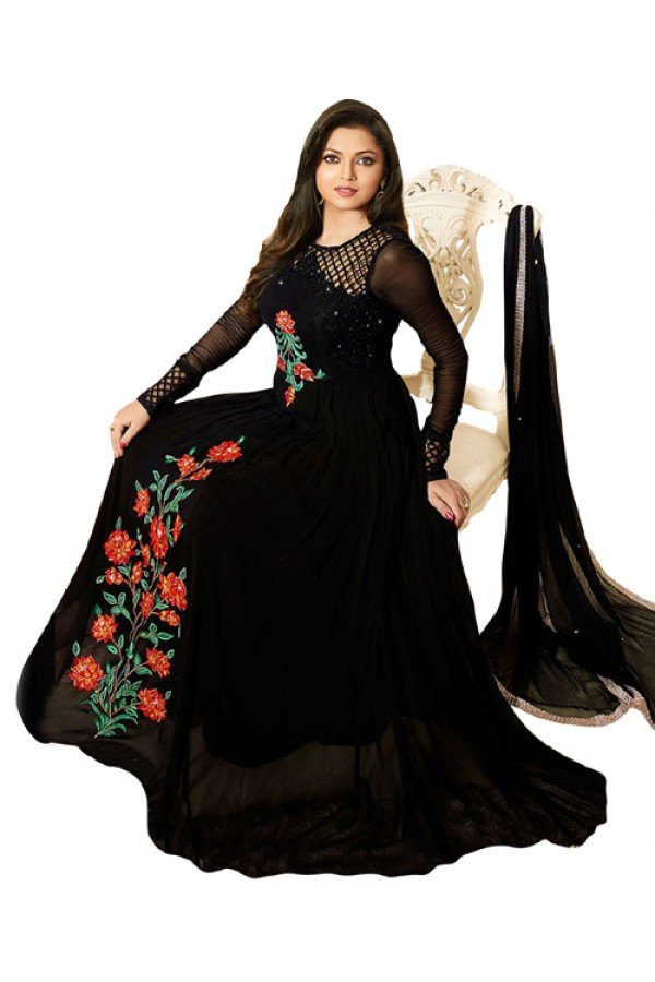 Ethnic Wear Black Georgette Anarkali Suit - 70706