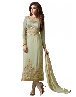 Office Wear Olive Green Churidar Suit - 70707