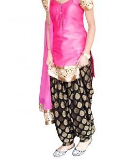 Ethnic Wear Pink & Black Cotton Patiyala Suit - 70722-A