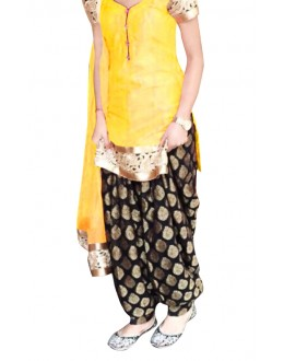 Ethnic Wear Yellow & Black Cotton Patiyala Suit - 70722-B