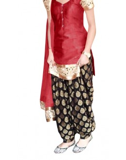 Ethnic Wear Red & Black Cotton Patiyala Suit - 70722-D