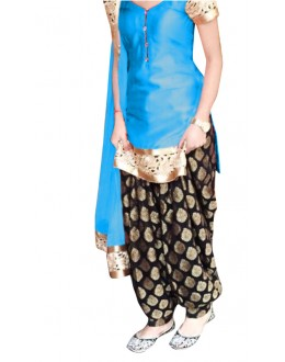 Ethnic Wear Sky Blue & Black Cotton Patiyala Suit - 70722-E