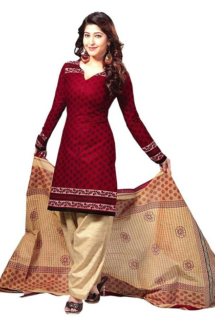 Office Wear Maroon & Cream Art Silk Salwar Suit - 70739