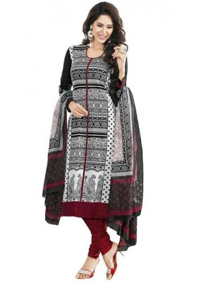 Office Wear Black & Red Art Silk Salwar Suit - 70740