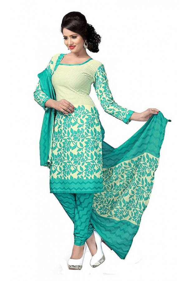 Ethnic Wear Turquoise & Beige Art Silk Salwar Suit - 70744