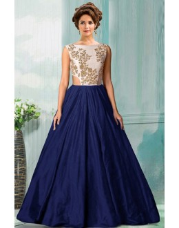 Bollywood Replica - Traditional Navy Blue Tat Silk Gown - 70750G