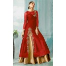 Ethnic Wear Red & Beige Tat Silk Anarkali Suit - 70752C