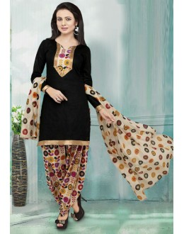 Ethnic Wear Black American Crepe Patiyala Suit  - 70755
