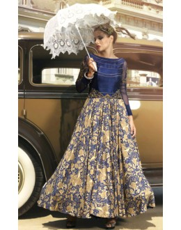Ethnic Wear Blue Bhagalpuri Gown - 70783