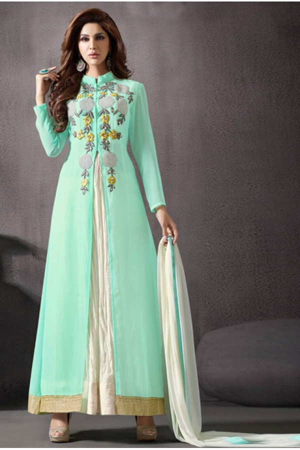 Festival Wear Sea Green Georgette Slit Anarkali Suit  - 70786