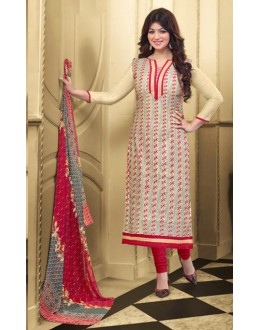 Ayesha Takia In Beige & Red Chanderi Salwar Suit  - 70793
