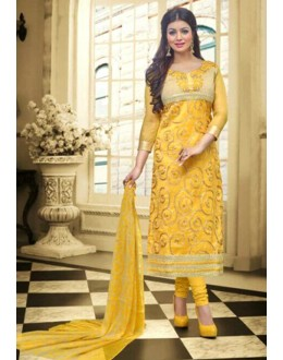 Ayesha Takia In Yellow Chanderi Salwar Suit  - 70794
