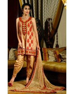 Festival Wear Golden Georgette Patiyala Suit  - 70812