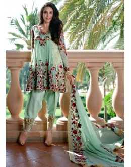 Ethnic Wear Sea Green Georgette Patiyala Suit  - 70813