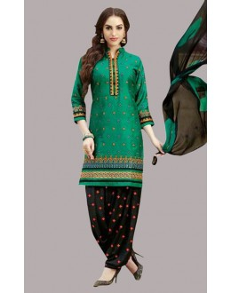 Festival Wear Green & Black Cotton Patiyala Suit  - 70816