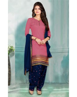 Office Wear Pink & Blue Chanderi Patiyala Suit  - 70847