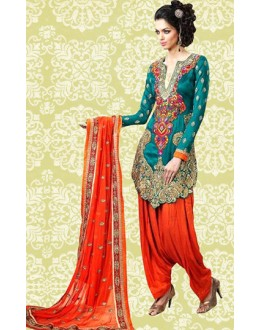 Festival Wear Green & Orange Banglori Silk Patiyala Suit  - 70887