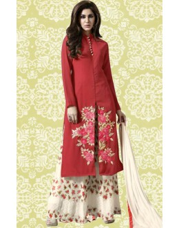 Party Wear Red & Cream Georgette Palazzo Suit  -70891C