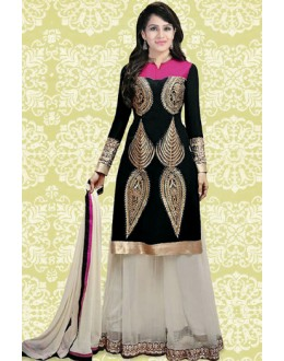Ethnic Wear Black & Off White 60 GM Palazzo Suit  -70892B