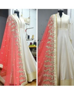 Bollywood Replica - Festival Wear White & Pink Anarkali Suit - 70914
