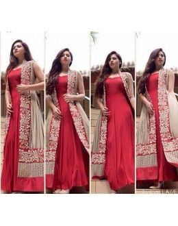 Bollywood Replica - Party Wear Red & Beige Anarkali Gown - 70920
