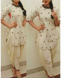 Bollywood Replica - Ethnic Wear Cream Cotton Patiyala Suit - 70923
