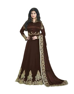 Ayesha Takia In Brown Banglori Silk Anarkali Gown - 70927B