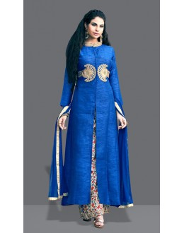 Ethnic Wear Blue Art Silk Palazzo Suit  - 71005